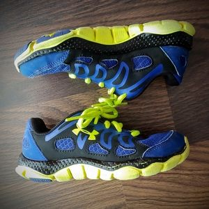 Under Armour Youth Bright Green and Blue Sneakers